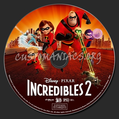 Incredibles 2 3D blu-ray label