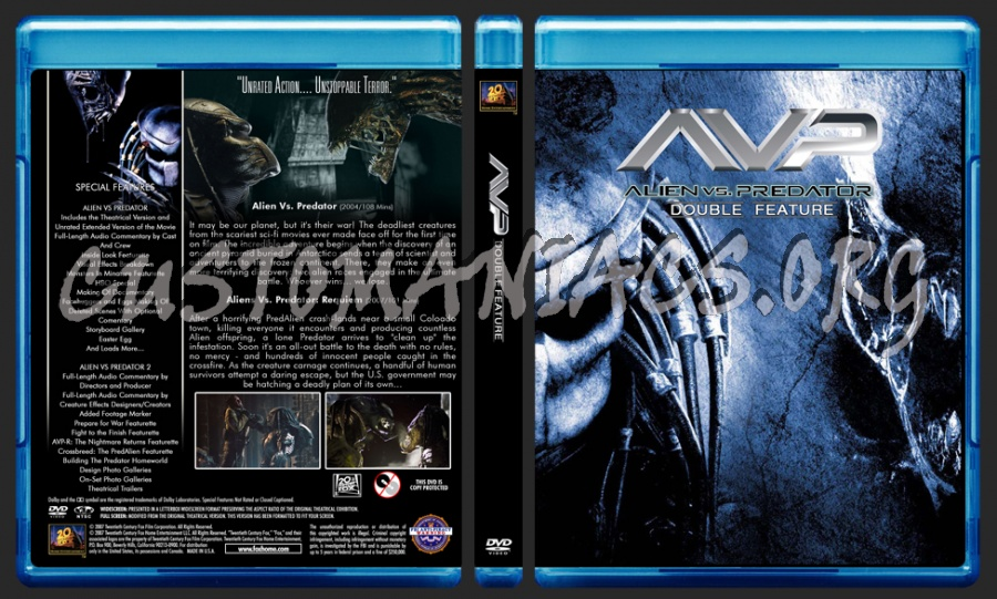 Alien Vs Predator (AVP) Double Feature dvd cover