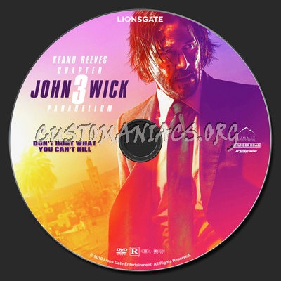 John Wick Chapter 3 - Parabellum dvd label