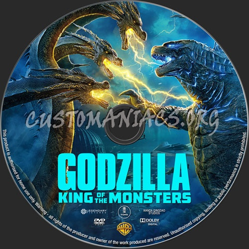 Godzilla King Of Monsters 2019 dvd label