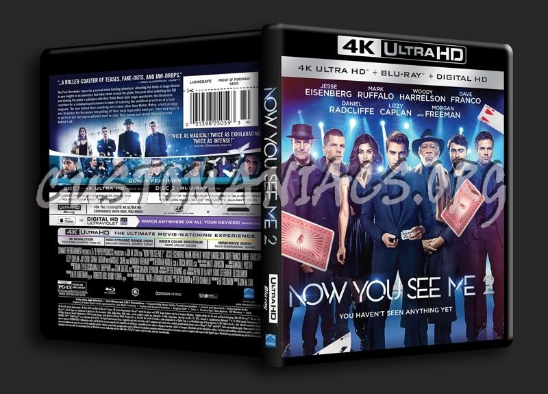 Now You See Me 2 4K blu-ray cover