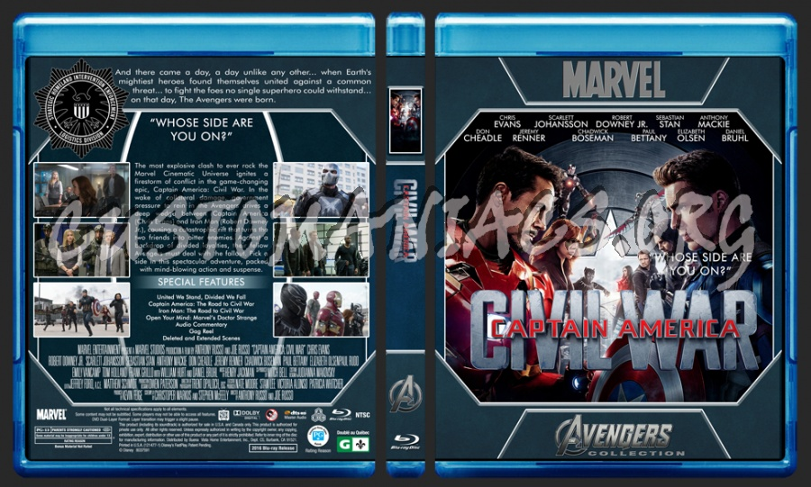 Avengers Collection - Captain America Civil War blu-ray cover