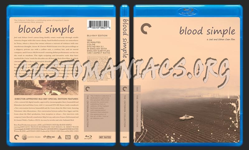 834 - Blood Simple blu-ray cover