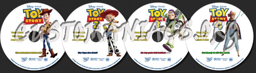 Toy Story, Toy Story 2, Toy Story 3, Toy Story 4 dvd label