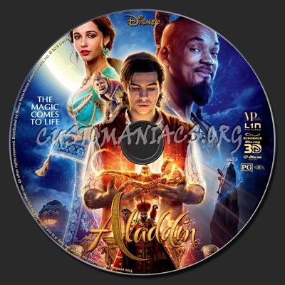 Aladdin 2019 (2D & 3D) blu-ray label
