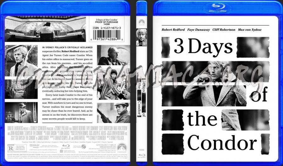 Three Days of the Condor (1975) blu-ray cover