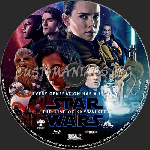 Star Wars The Rise Of Skywalker 2019 blu-ray label