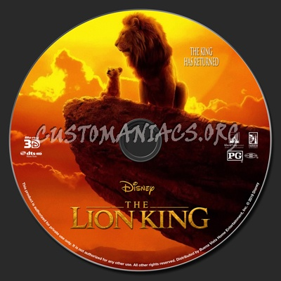 The Lion King 2019 (2D & 3D) blu-ray label