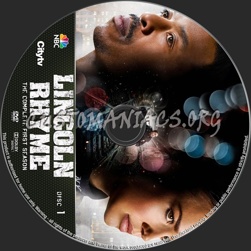 Lincoln Rhyme Season 1 dvd label