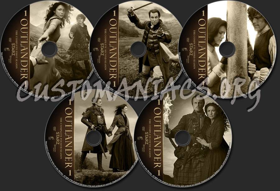 Outlander Seasons 1-5 dvd label