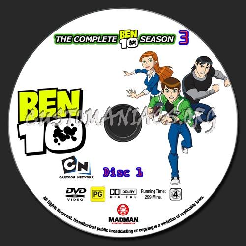 Ben 10 Seasons 1 - 4 dvd label