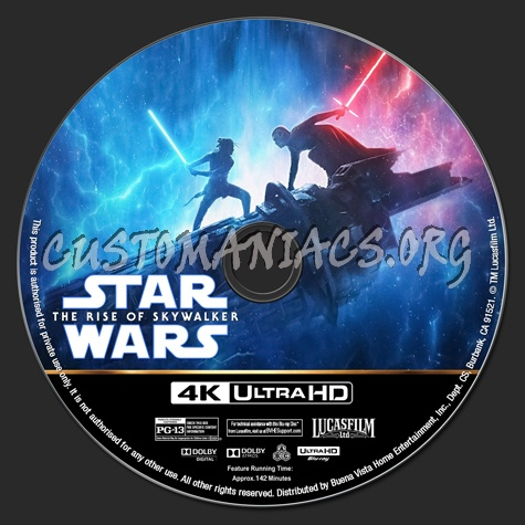 Star Wars: The Rise of Skywalker 4K blu-ray label