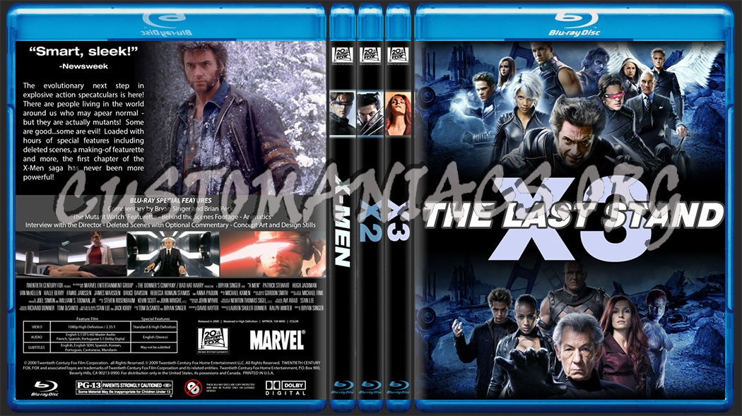 X Men Dvd Cover: X-Men 1, 2 & 3 Blu-ray Cover