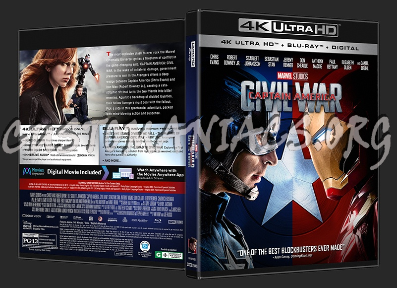 Captain America Civil War 4k: DVD Covers & Labels By Customaniacs