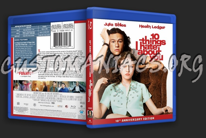 Analysing Feature Films 10 Things I Hate: 10 Things I Hate About You Blu-ray Cover