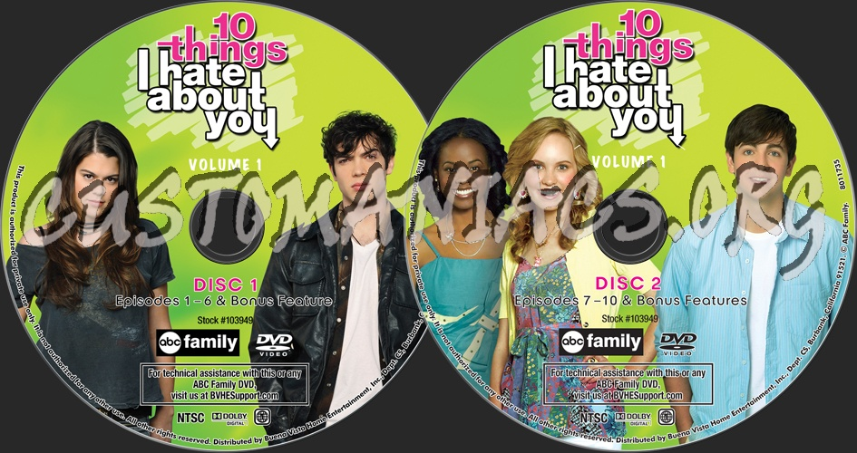 10 Things I Hate About You Cover: Forum TV-Show Scanned Labels